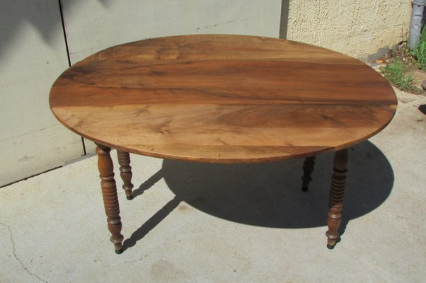 Antique Louis Philippe Era Walnut Drop Leaf Table