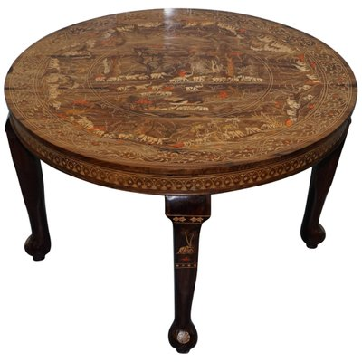 c84bfb0a35c Antique Anglo-Indian Redwood Carved Dining Table with Elephant Carved Inlay  1