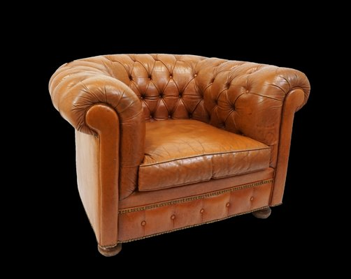 Brilliant Vintage Leather Chesterfield Armchair 1940S Short Links Chair Design For Home Short Linksinfo