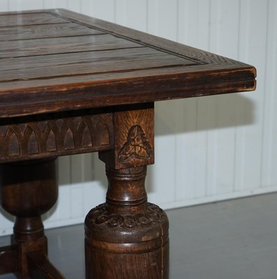 Large Antique English Oak Jacobean Style Dining Table