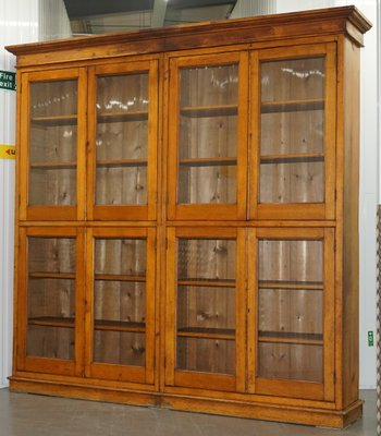 Antique Mahogany Oak Library Cabinet With Gl Doors