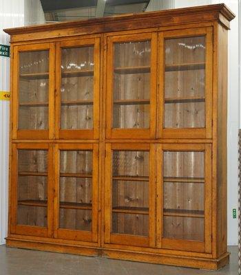 Libreria Con Ante Di Vetro.Libreria Antica In Mogano E Quercia Con Ante In Vetro