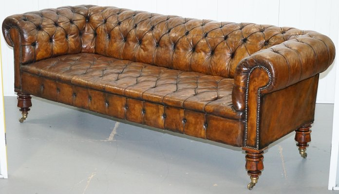 Victorian Brown Leather Chesterfield Sofa