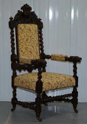 Jacobean Style Oak Dining Chairs 1800s Set Of 10