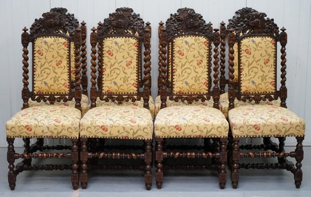 Remarkable Jacobean Style Oak Dining Chairs 1800S Set Of 10 Bralicious Painted Fabric Chair Ideas Braliciousco