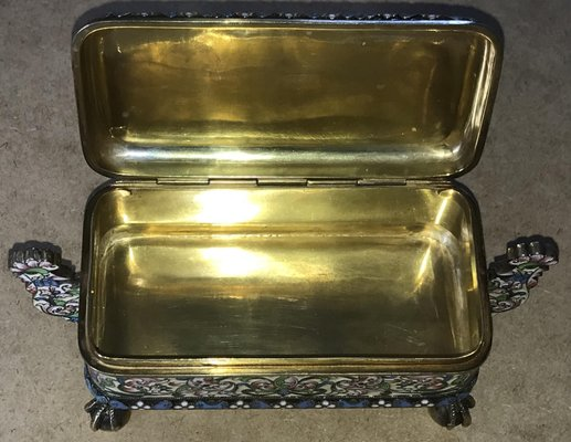 Antique Russian Silver Gilt Cloisonné Enamel Lidded Box by Pavel  Ovchinnikov & Ivan Khlednikov The Exceptional