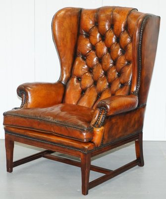 Genial Vintage Whisky Brown Leather Chesterfield Wingback Armchair 1