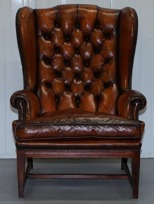 Vintage Whisky Brown Leather Chesterfield Wingback Armchair For Sale