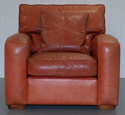 Vintage Brown Leather Armchair Stool Set From Duresta Panther