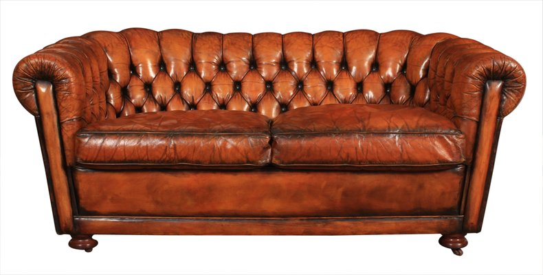 Vintage Two Seater Chesterfield Leather Sofa Bei Pamono Kaufen