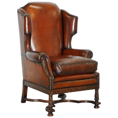 Antique William U0026 Mary Style Wingback Armchair 1