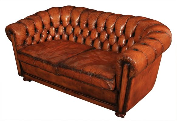 Vintage Hand Dyed Leather Buttoned Chesterfield Sofa 1970s For Sale