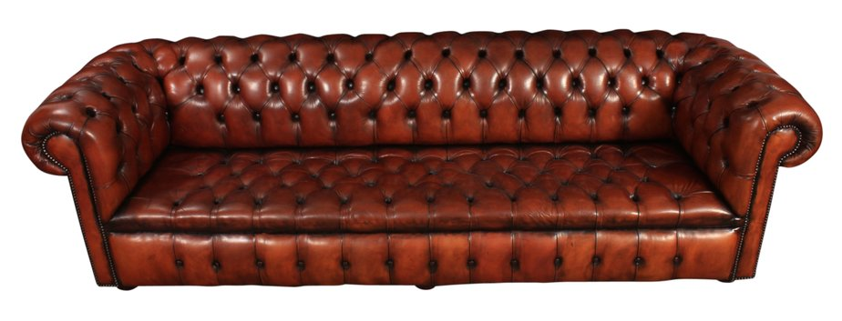 Large Four-Seater Chesterfield Leather Sofa for sale at Pamono