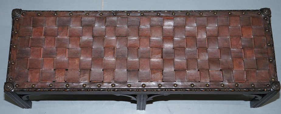 Fantastic Small Early Victorian Woven Leather Hand Carved Wood Footstool Machost Co Dining Chair Design Ideas Machostcouk