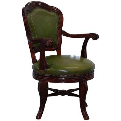 Sedie Da Ufficio Verde.Sedia Da Ufficio Girevole Antica In Pelle Verde E Mogano