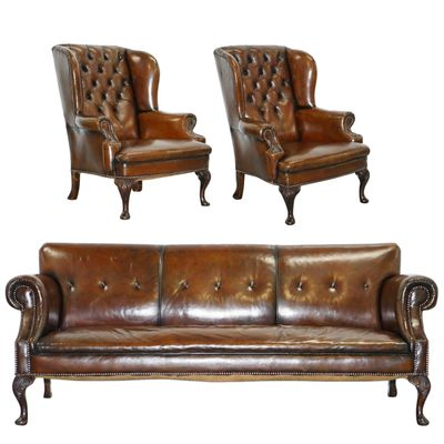 Antique Brown Leather Set with Chesterfield Sofa & 2 Wingback ...