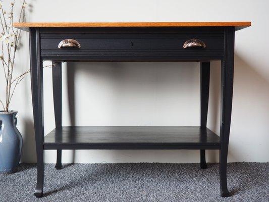 Vintage Solid Oak Console Table 1950s