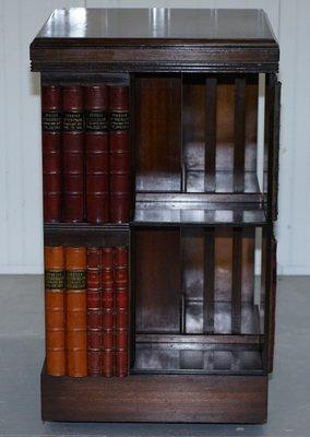 Drehbares Vintage Bücherregal aus Mahagoni mit Dekor in Bücher-Optik