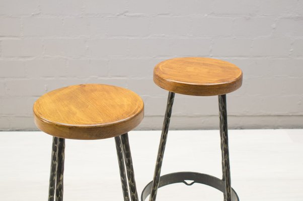 Super Mid Century Iron And Wood Bar Stools 1960S Set Of 2 Cjindustries Chair Design For Home Cjindustriesco