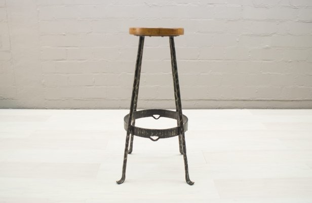 Brilliant Mid Century Iron And Wood Bar Stools 1960S Set Of 2 Cjindustries Chair Design For Home Cjindustriesco