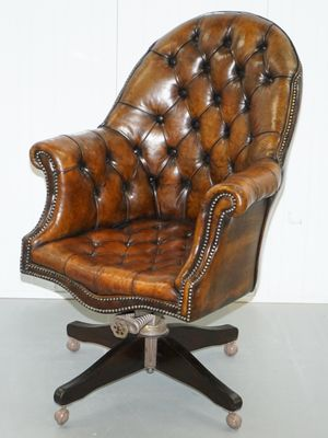 Brown Leather Chesterfield Armchair, 1920s 1