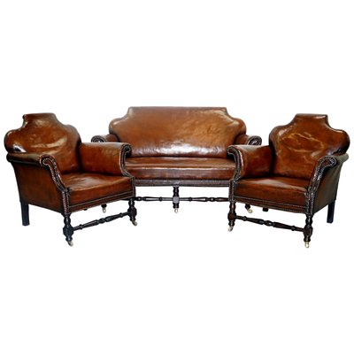 Small Victorian Leather Set with Club Sofa & 2 Armchairs for sale at ...
