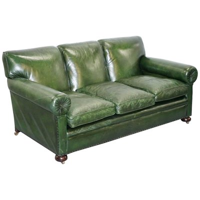 Antique Victorian Green Leather Sofa from Maple & Co for sale at Pamono