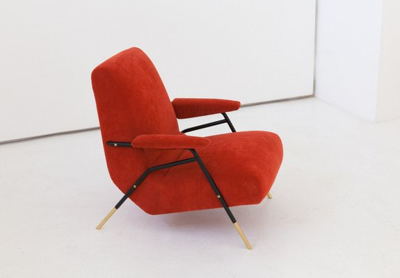Brilliant Modernist Italian Velvet Lounge Chair 1950S Creativecarmelina Interior Chair Design Creativecarmelinacom