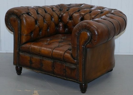 Antique Victorian Brown Leather Chesterfield Armchair For Sale At Pamono