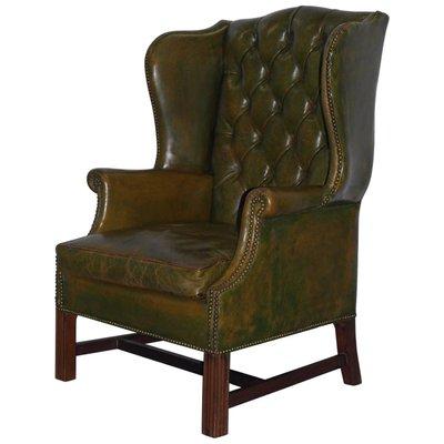 Fantastic Antique Georgian Green Leather Wingback Armchair Camellatalisay Diy Chair Ideas Camellatalisaycom