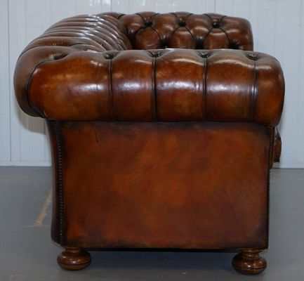 Vintage Brown Leather Chesterfield Sofa 5