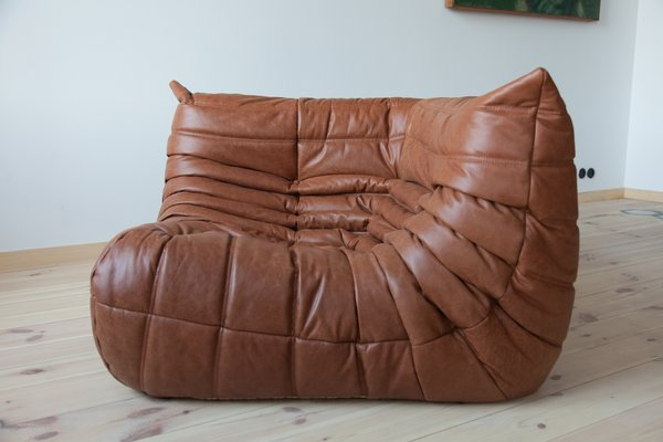 Vintage Kentucky Brown Leather Togo Corner Couch by Michel Ducaroy for  Ligne Roset