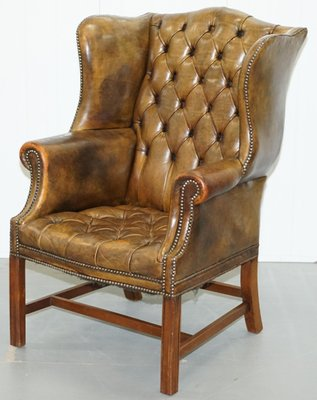 Buttoned Leather Chesterfield Wingback Armchair 1930s For Sale At