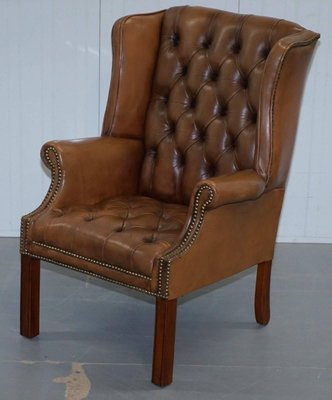 Vintage Brown Leather Buttoned Chesterfield Wingback Armchair For