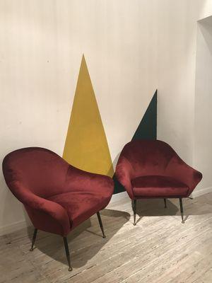 Italian Burgundy Velvet Living Room Set, 1960s