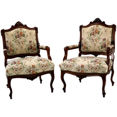 Louis Xv Rococo Style Carved Walnut Armchairs 1860s Set Of 2 For