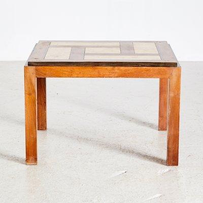 en soldes 8738d 71494 Table Basse avec Bois Géométrique et Incrustations en Céramique, 1950s