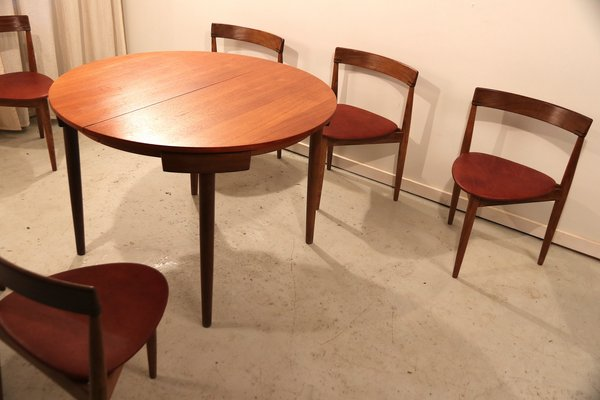 the best attitude 75b8c 4705c Set with Roundette Dining Table & 6 Chairs by Hans Olsen, 1952