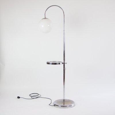 Bauhaus Floor Lamp With Opal Glass Shade 1930s