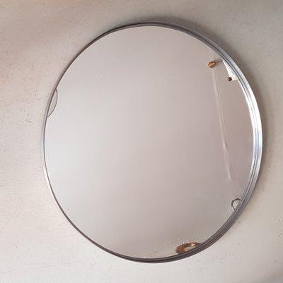 Großer Runder Spiegel Mit Rahmen Aus Edelstahl 1960er