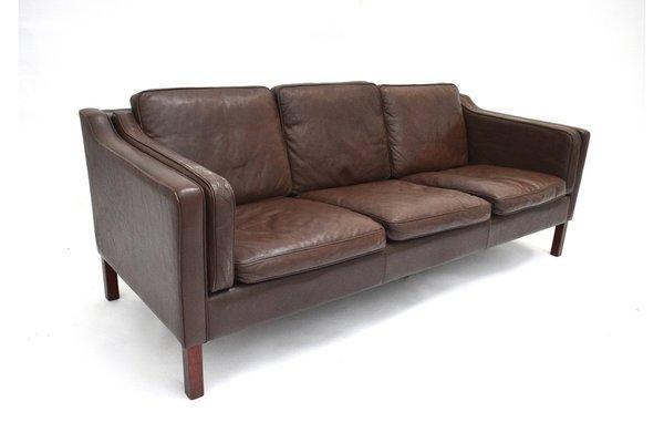 Danish Dark Brown Leather 3 Seater Sofa, 1960s