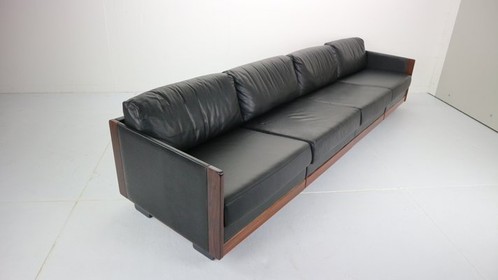 Black Leather Model 920 4-Seat Sofa by Afra & Tobia Scarpa for Cassina,  1960s