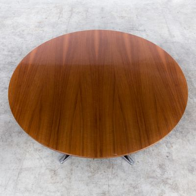 Vintage Round Coffee Table On Chrome Frame From Kondor