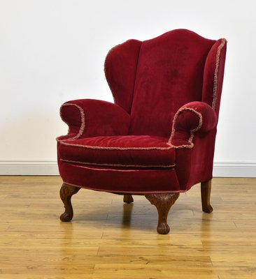 Charmant Upholstered Red Velour Wing Back Armchair, 1920s 1