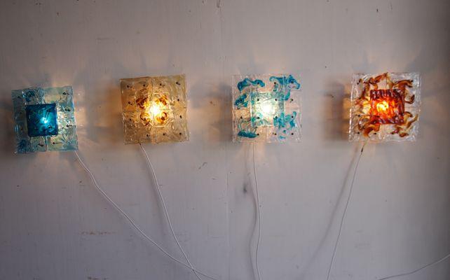Applique in vetro di murano patchwork di toni zuccheri per venini