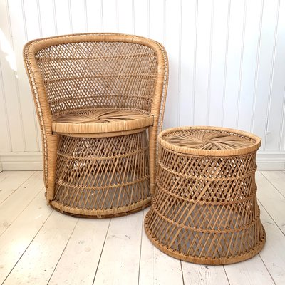 Vintage Wicker Rattan Armchair And
