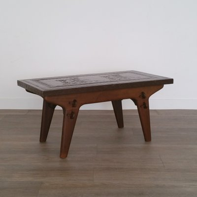 Wood U0026 Leather Coffee Table By Angel Pazmino For Meubles De Estilo, 1960s