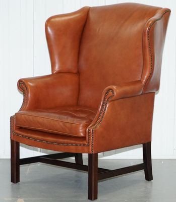 Brown Leather Wingback Armchair 1920s