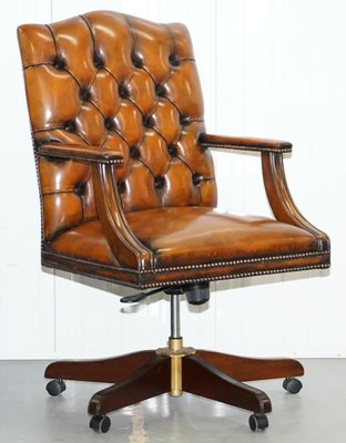 Chesterfield Gainsborough Brown Leather Directors Chair, 1950s 1
