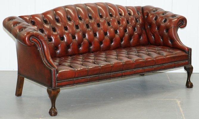 Divani Vintage Chesterfield In Stile Antico In Pelle Set Di 2 In